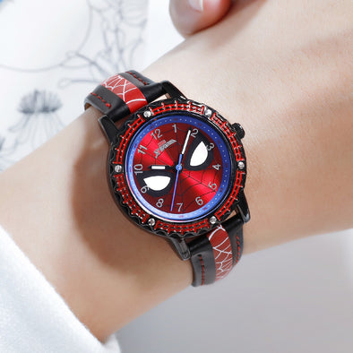 100% Original Disney Boys Watches Luxury Spider-Man Animation Figures Kids Watches Girls MARVEL Cartoon Student Quartz Watch
