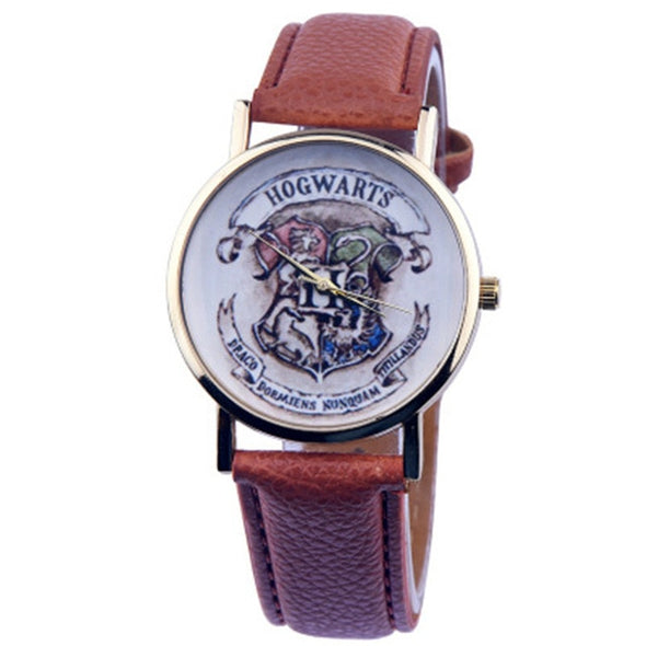 Casual lovers' watches  leather deployment bucket Wrist Watches 3Bar Waterproof  Geneva Quartz Harry Potter Medal Watches