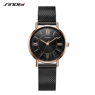 SINOBI New Fashion Women Watches Black Gold Luxury Simple Steel Mesh Ladies Watch Women Watches Relogio Feminino Reloj Mujer