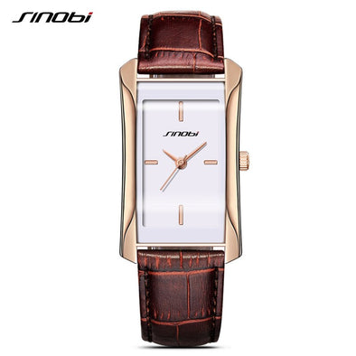 SINOBI Women Watch Luxury Square Watches Ladies Quartz Wrist Watch for Reloj Mujer Leather Casual Women's Watch Relogio Feminino