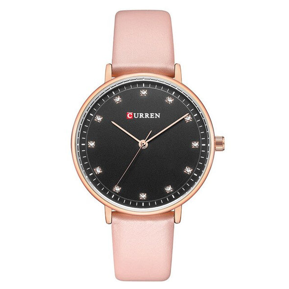 CURREN Womens Watches Charming Rhinestone Analog Quartz Wristwatch with Leather Ladies Gift Watch Female Clock bayan kol saati
