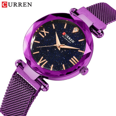 CURREN Luxury Diamond Ladies Watches Fashion Creative Women Wristwatch Romantic Starry Sky Quartz Watch Valentine Gift Purple