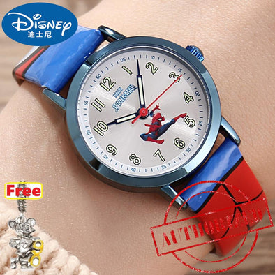 100% Genuine Brand Disney Marvel comics character watch Disney children's watch boy's Spiderman quartz watch 30bar Waterproof