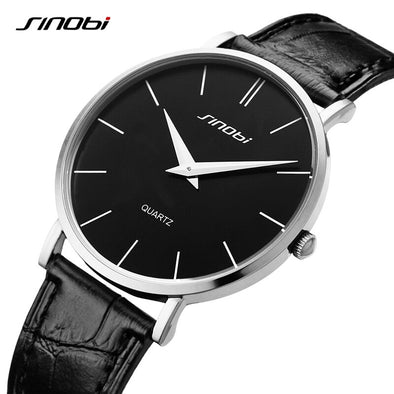 2015 SINOBI Brand ultra slim Quartz Casual Wristwatch Business JAPAN Genuine Leather Analog Quartz Watch Men's Relogio Masculino
