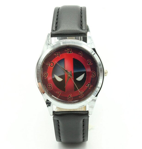 Marvel Super Hero Deadpool Superhero Leather Band Fashion Watch Wrist For Boy Man