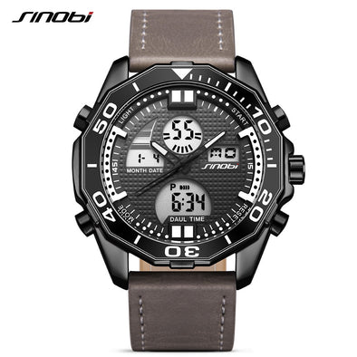 Sinobi Top Luxury Brand Digital Quartz Watch Men Waterproof Sport Men's Leather & Steel Military Wrist Watch relogio masculino