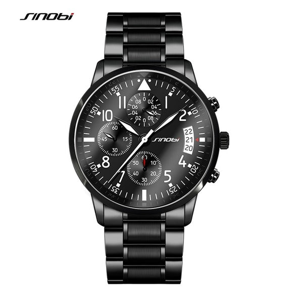 New SINOBI Pilot Mens Chronograph Wrist Watch Waterproof Date Top Luxury Brand Stainless Steel Diver Males Geneva Quartz saat