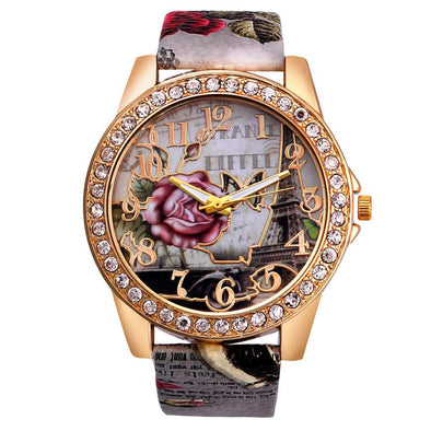 2018 High Quality Ladies Watch Women Curren Rose Pattern Leather Band Analog Quartz Vogue Wrist Watches Fashion Clock 30p