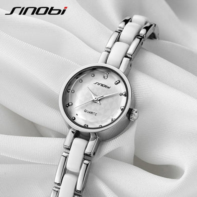 SINOBI Women Bracelet Watches Top Brand Luxury Simulated Ceramics Band Quartz Watch Lady Dress Relogio Feminino 2019 Clock #9486