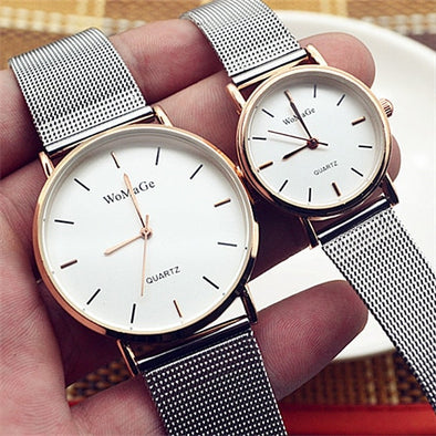 Fashion Womage Brand Man Woman Lovers Reloj Mujer Brand Luxury Mesh Stainless Steel Strap Watches Couple Quartz Relogio Feminino