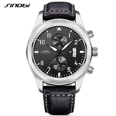 SINOBI Mens Chronograph Sports Watches Men Military Leather Watch Luxury Brand Male Quartz Clock Wristwatches Relogio Masculino