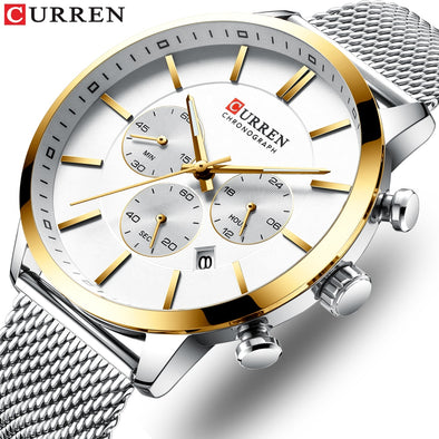 2019 New Luxury Fashion CURREN Men Watch Quartz Business Chronograph and Date Relogio Masculino