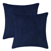 BRAWARM Pack of 2 Comfy Throw Pillow Covers Cases for Couch Sofa Home Decoration Supersoft Corduroy Striped with Piping 20 X 20 Inches Navy Blue