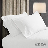 Simple&Opulence 100% Stone Washed Linen Embroidered Thread Solid 2 Pillowcase (Standard, Linen)