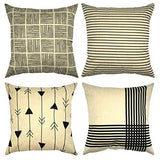 Set of 4 Geometric Cotton Linen Decorative Throw Pillow Case Cushion Cover Square Outdoor Couch Sofa Home Pillow Covers 20x20 Inch