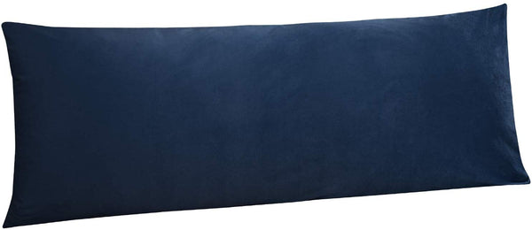 NTBAY Zippered Velvet Body Pillow Cover, for Adults Pregnant Women Luxury Solid Color Body Pillowcase, 20 x 54 Inches, Navy Blue