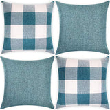 HYRIXDIRECT Set of 4 Throw Pillow Covers 18x18 Inch Decorative Square Throw Pillow Cases Solid Plaid Linen Pillowcase for Sofa Couch Bedroom Car Home Decor Decorations (Beige)