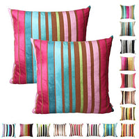"Queenie® - 2 Pcs Chenille Stripe Decorative Pillowcase Cushion Cover for Sofa Throw Pillow Case Available in 15 Colors & 5 Sizes (20"" x 20"" (50 x 50 cm), 030)"