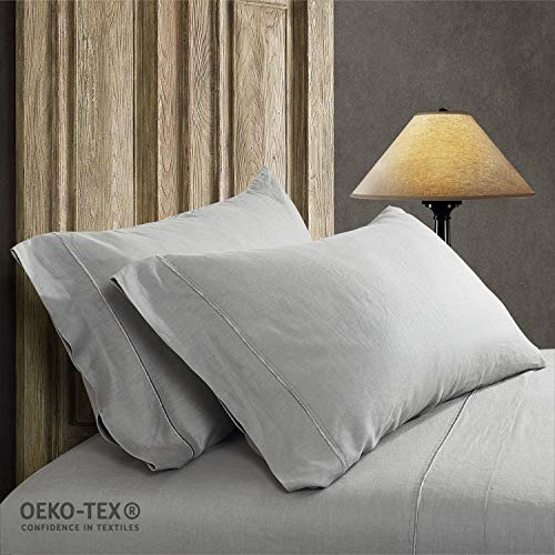 Simple&Opulence 100% Stone Washed Linen Embroidered Thread Solid 2 Pillowcase (King, Linen)