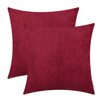 CaliTime Pack of 2 Comfy Throw Pillow Covers Cases for Couch Sofa Bed Comfortable Soft Solid Corduroy Pineapple Trellis Both Sides 18 X 18 Inches Dark Red