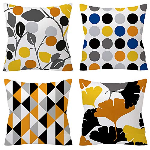 TongXi Black and Beige Geometric Style Square Decorative Soft Throw Pillow Covers 18x18 inches Pack of 4