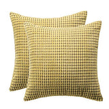 SEPTEMBER HOME Decor Throw Pillow Covers Decorative Soft Velvet Corduroy Striped Square Pillows Cushion Case ,Handmade Invisible Zipper car Couch Pillow Shells 18 x 18 Inch,Set of 2(Khaki)