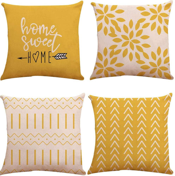 Pillow Covers 18x18 Set of 4, Modern Sofa Throw Pillow Cover, Decorative Outdoor Linen Fabric Pillow Case for Couch Bed Car 45x45cm (Yellow, 18x18,Set of 4)