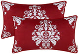 BRAWARM Pack of 2 Cozy Fleece Bolster Pillow Covers Cases for Couch Sofa Manual Hand Painted Vintage Solid Damask Floral with Piping 12 X 20 Inches Burgundy