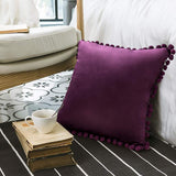 Woaboy Pack of 2 Velvet Throw Pillow Covers Pompom Decorative Pillowcases Solid Soft Cushion Covers with Poms Square Cojines for Couch Living Room Sofa Bedroom Car 18x18inch 45x45cm Purple