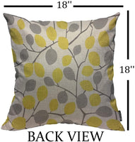 Mugod Throw Pillow Cover Yellow and Grey Seamless Leaves Pattern Home Decorative Linen Square Pillow Case for Men Women Boy Gilrs Bedroom Livingroom Cushion Cover 18x18 Inch Pillowcase