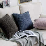 MIULEE Pack of 2 Decorative New Luxury Series Style Blue Faux Fur Throw Pillow Covers Super Soft Wool Pillow Cases Cushion Covers for Sofa Bedroom Living Room 18x18 Inch 45x45 cm