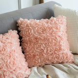 MIULEE Pack of 2 3D Decorative Romantic Stereo Chiffon Rose Flower Pillow Cover Solid Square Pillowcase for Sofa Bedroom Car 18x18 Inch 45x45 cm Peach Pink