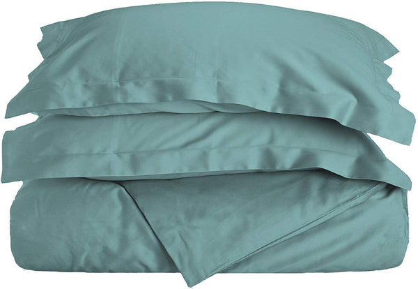 Superior 100% Premium Combed Cotton, 3 Piece Soft and Smooth Duvet Cover and Pillow Sham Set, Solid, King/California King - Teal