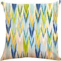 ZUEXT Set of 4 Cotton Linen Throw Pillow Covers 18 x 18 Inch Double Side Design, Outdoor Square Cushion Pillowcase 45x45cm for Car Sofa Home Decor (Yellow Blue Aqua Modern Geometric Tribal Floral)