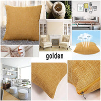 "ALHXF 2 Pack Pillowcase Throw Pillow Covers 16""X16"" Home Decorative Solid Square Burlap Linen Pillowcase, Thick, Luxury, Handmade Invisible Zipper Sofa Couch Bed,Car, Camping, Office (Yellow Gold)"
