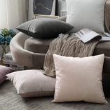 MIULEE Pack of 2 Decorative Velvet Throw Pillow Covers Soft Pattern Solid Pillow Cases Luxury Euro Sham Cushion Covers for Sofa Couch Bed 18x18 Inch, Grey