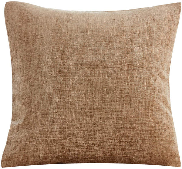 "PHF Chenille Velvet Throw Pillow Cover 100% Polyester Cushion Cover Solid Pack of 1 18""x 18"" Light Coffee for Winter Decor Home Decoration"