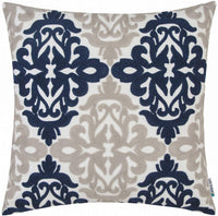 HWY 50 Navy Blue Grey Gray Decorative Embroidered Throw Pillow Covers Cushion Cases for Couch Sofa Living Room 18 x 18 inch Accent Floral Geometric 1 Piece Decor