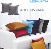 Sleep Mantra Navy-Blue Throw Pillow-Covers Plush Velvet - Luxurious 2 Piece Smooth Comfortable Cushion Case Set, 18x18 Inch Soft Decorative Square Pillow Cases for Couch, Chair or Car