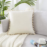 Top Finel Decorative Throw Pillow Covers for Couch Bed Soft Particles Velvet Solid Cushion Covers with Pom-poms, Pack of 1, Cream