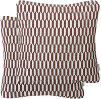 Mika Home Pack of 2 Luxury Chenille Decorative Pillow Covers Geometric Pattern Throw Pillow Covers for Couch Sofa Bed 20x20 Inches,Brown Cream