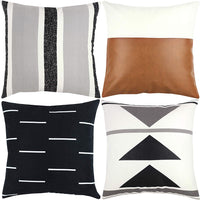 Woven Nook Decorative Throw Pillow Covers 4 Pack for Couch, Sofa, or Bed 100% Cotton Black White Geometric Faux Leather Zulu Set (18'' x 18'')