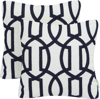 Mika Home Pack of 2 Embroidery Geometric Links Accent Decorative Throw Pillow Cover Sofa Cushion Case for 18X18 Inserts Cotton Fabric Grey White