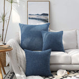 "Kevin Textile Cushion Cover Cotton Linen Durable Classic Pillowcase Household Large Size Pillow Cover, Set of 2, 26""x26"", Federal Blue"