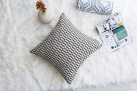 Mika Home Pack of 2 Luxury Chenille Decorative Pillow Covers Geometric Pattern Throw Pillow Covers for Couch Sofa Bed 20x20 Inches,Grey Cream