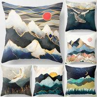 1Pcs Decorative Pillows Geometric Mountain Peaks Sun Whale Printed Cushion Cover Home Living Room Sofa Decoration 45*45cm 40831