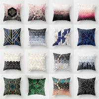 Marbled Geometric Scenery Cushion Cover English Alphabet Letter Pillow Cases 45*45cm Nordic Home Decor for Car Sofa Living Room