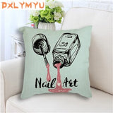 Modern Cotton Linen Cushion Cover Nail Polish Quotes  Nordic Posters Pop Art Print Cushion for Sofa Throw Pillow Case 45x45cm