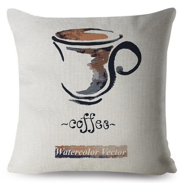 Watercolor Coffee Theme Print Cushion Cover 45*45cm Square Pillow Covers Beige Linen Throw Pillows Cases Home Decor Pillowcase