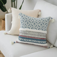 Blue Yellow Pink cushion cover Tassels Moroccan Style pillow cover Woven for Home decoration Sofa Bed 45x45cm